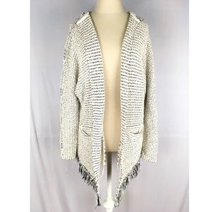 Free People hooded knit sweater fringe off white